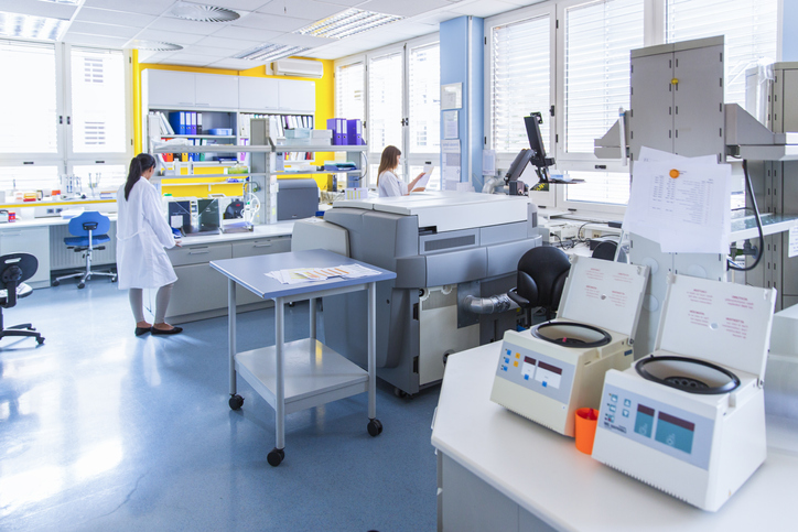 Technicians in laboratory of blood bank